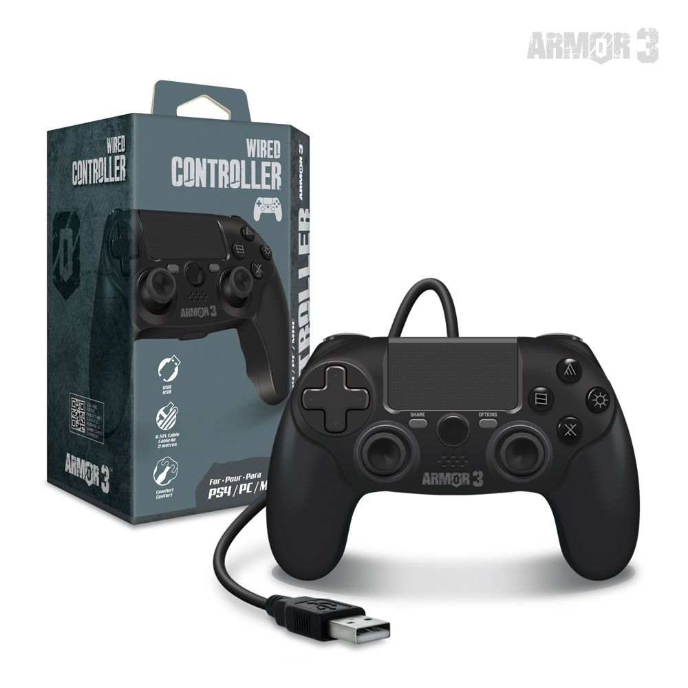 Armor3 PS4 Wired Controller Black (1)
