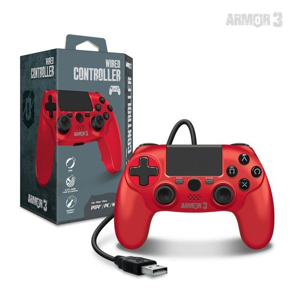 Armor3 PS4 Wired Controller Red (1)