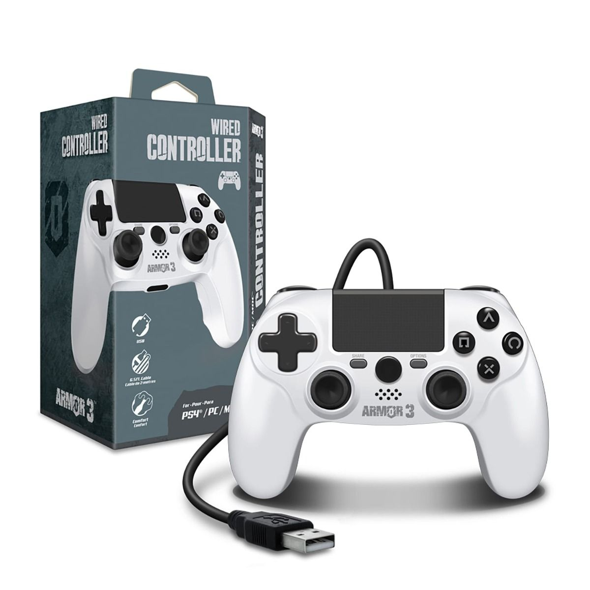 Armor3 PS4 Wired Controller White (1)